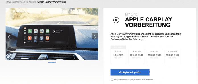 Die neuen CarPlay-Abo-Optionen bei BMW.