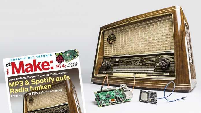 Cover der Make 4/19 neben einem alten Radiogerät, einem Raspberry Pi und ESP.