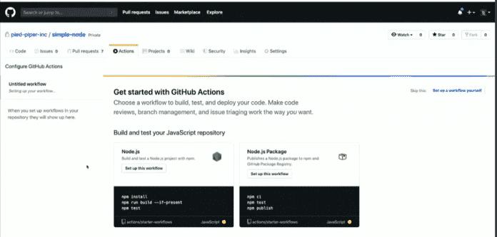 GitHub hat in einem Projekt JavaScript erkannt und schlägt einen passenden Workflow vor.