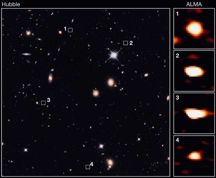 """ALMA """"sieht"""" Galaxien, die auf Hubble-Aufnahmen nicht zu sehen sind."""