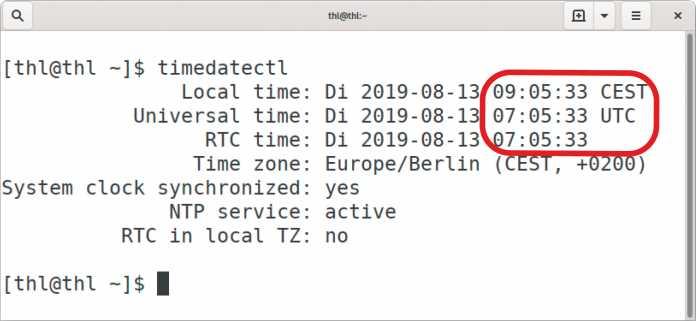 Bei diesem Linux-System ist statt der lokalen Zeit die Weltzeit in der Echtzeituhr des PC hinterlegt, was Windows verwirren kann.