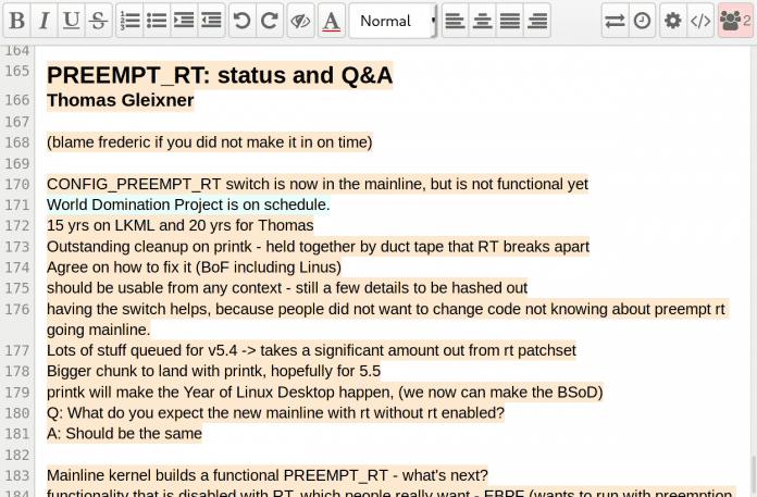 Gemeinsam erfasste Notizen erlauben einen Einblick in die Diskussionen der Entwickler.