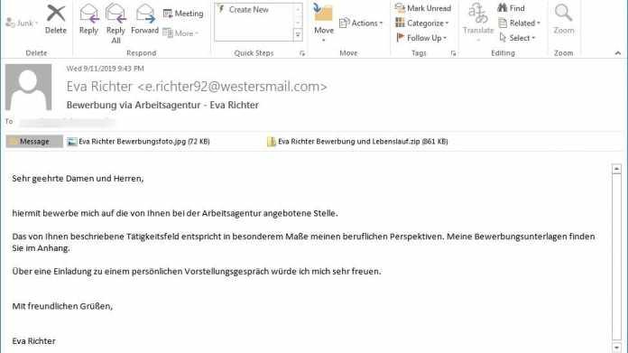 """Fake-Bewerbung von """"Eva Richter"""" hat Erpressungstrojaner Ordinypt im Gepäck"""
