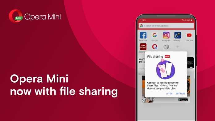 Opera Mini mit direktem Datenaustausch über WLAN