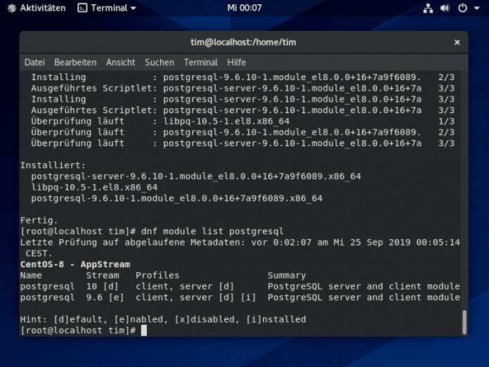 Auch CentOS 8 bietet Module und AppStreams.