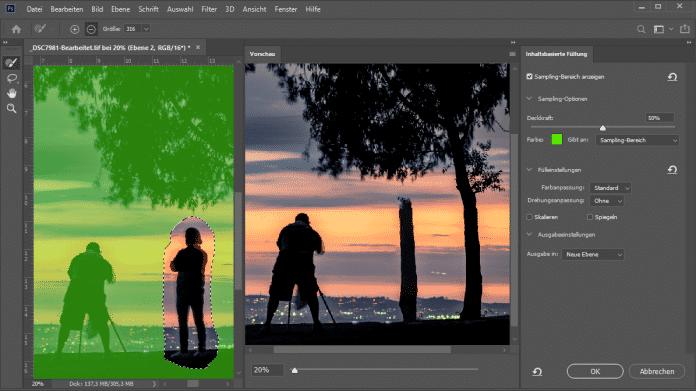 Inhalts-basiertes Füllen mit KI in Photoshop