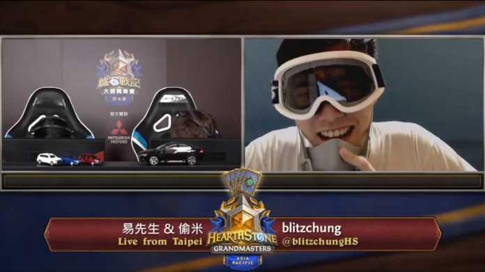 "Hearthstone-E-Sportler ""blitzchung"" im Livestream, mit Ski-Brille in Anlehnung an die Proteste in Hongkong."