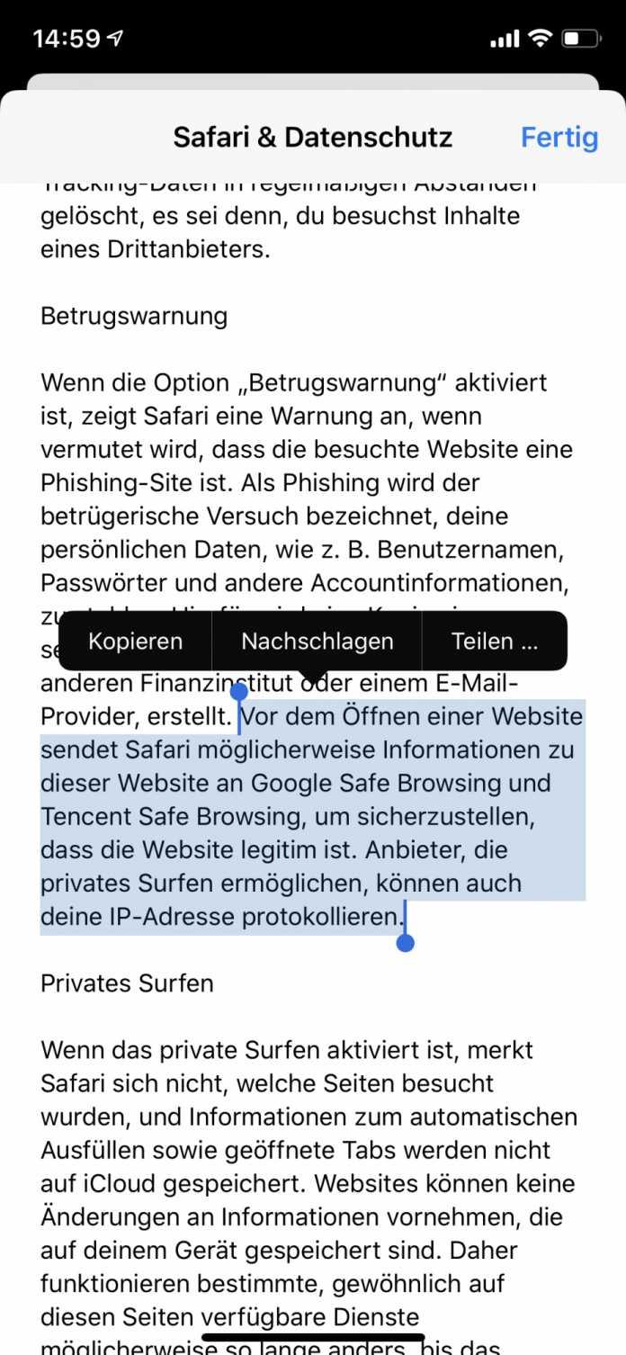 Auch auf deutschen iPhones ist die Änderung verzeichnet.