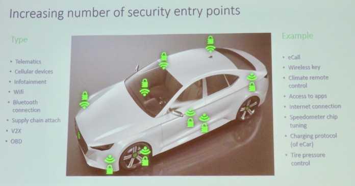Vernetzte Fahrzeuge sind an vielen Punkten angreifbar.
