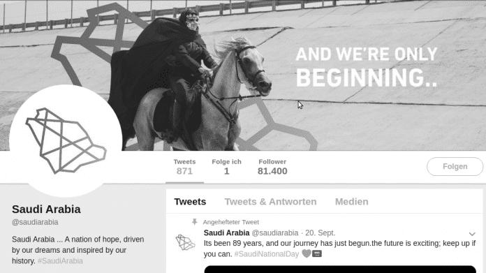 """Twitter-Profil mit maskiertem Reiter, daneben der Claim """"AND WE'RE ONLY BEGINNING..."""""""
