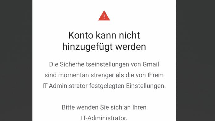 Gmail-Update: Kein Zugriff mehr auf Exchange-Konten