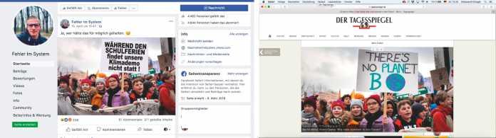 War doch klar, dass Schüler ihre Ferien nicht für Klimademos opfern, suggeriert dieser Facebook-Post. Stimmt nur nicht: Die Schrift auf dem Plakat ist gefälscht und in den Ferien fanden sehr wohl Klimademos statt, wie correctiv.org herausfand.