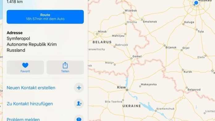 Apple zeigt Krim als russisches Staatsgebiet