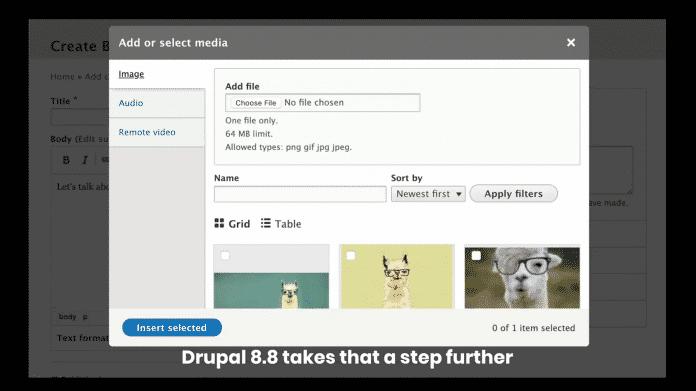 Drupal 8.8.0 mit Medienbibliothek und frischem Backend-Theme