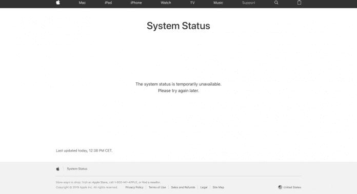 Auch Apples Systemstatusseite ist von dem Ausfall betroffen.