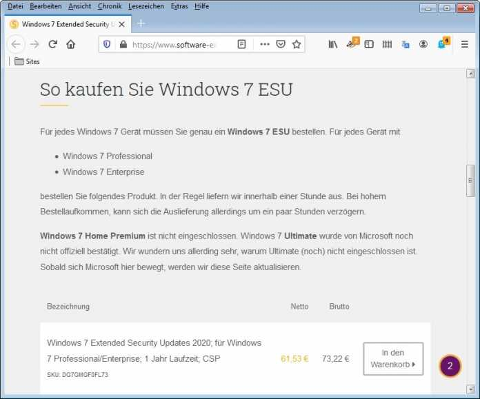 Windows 7 Supportverlängerung: Es kann bestellt werden