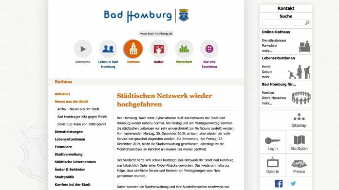 Stadtverwaltung Bad Homburg nach Virenangriff wieder am Netz