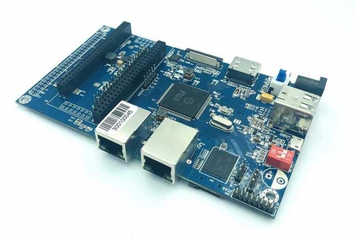 Der Banana Pi BPI-F2S hat 2 LAN-Buchsen, HDMI und ein FPGA-Inteface.