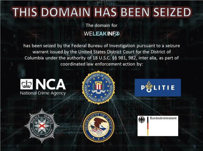 This domain has been sized. Dieses Bild bekommt man zu sehen, wenn man die Website von WeLeakInfo aufruft.