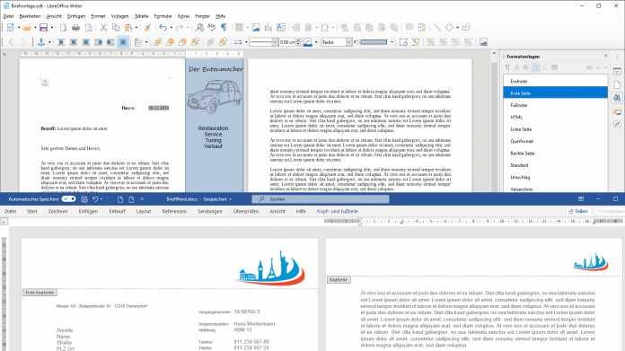 Variable Seitenlayouts in Word und LibreOffice Writer