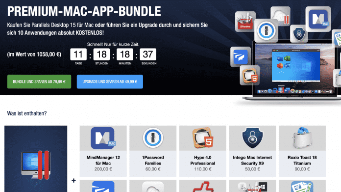 Virtualisierer Parallels mit Mac-Bundle-Angebot