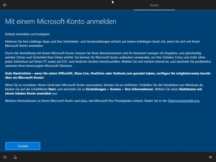 Microsoft-Kontenzwang auch für Windows 10 in Deutschland
