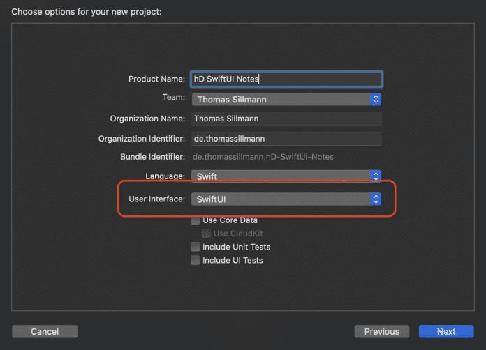 In Xcode lässt sich direkt ein neues Projekt auf Basis von SwiftUI erstellen (Abb. 1).