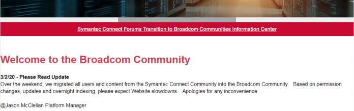 Screenshot / community.broadcom.com