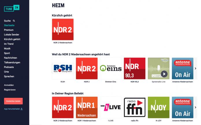 Audials Radio, myTuner Radio, Radio.de und TuneIn bieten neben Smartphone-Apps auch Browser-Clients.