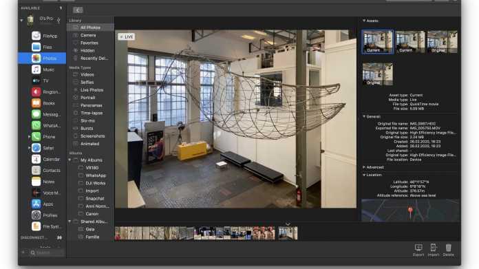 iPhone-Management-Werkzeug Imazing mit neuem Fotomodus