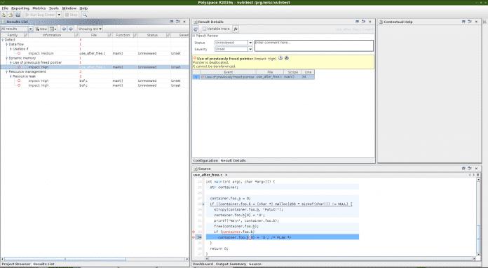 Der Polyspace Desktop auf Linux sieht etwas altbacken aus, erfüllt aber seinen Zweck (Abb. 2).