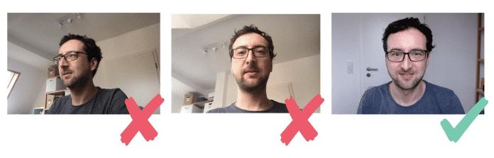 """Auf """"Augenhöhe"""" kommunizieren durch die richtige Positionierung der Webcam (Abb. 1)"""