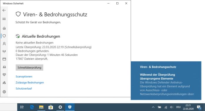 Windows-10-Bug: Defender überspringt auf manchen Systemen beim Scannen Dateien