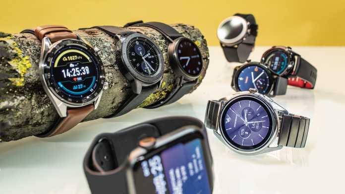 Neun Smartwatches mit watchOS, Wear OS, Tizen und LiteOS