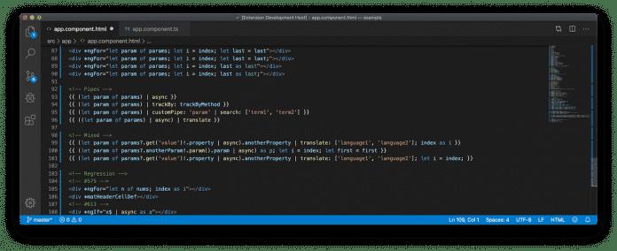 Angular 9.1 erweitert die Syntaxhervorhebung in Visual Studio Code.