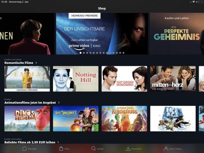 Filme zum Kaufen und Mieten in der Prime-Video-App auf dem iPad. Abgerechnet wird über das bei Amazon hinterlegte Zahlungsmittel –statt über Apple.