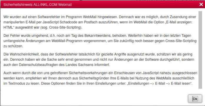 Sicherheitslücken in der Webmail-Oberfläche von All-Inkl.com geschlossen