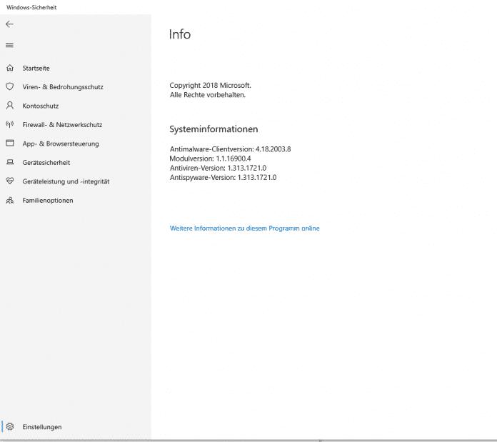 """Hier ist alles okay: Unter """"Einstellungen --> Info"""" im Win-10-Sicherheitscenter kann man sich die aktuelle installierte Version der Signaturdatei (hier: 1.313.1721.0) anzeigen lassen."""