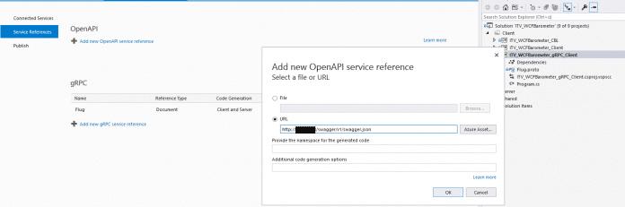 """Proxy-Generierung für Googles RPC-Dienste und WebAPIs mit OpenAPI-Metadaten in Visual Studio 2019 (Kontextmenüeintrag """"Add Connected Services"""") (Abb. 1)"""