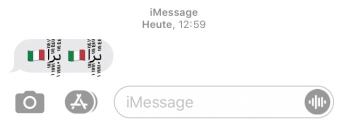 Diese Nachricht bringt iPhones unter iOS 13 zum Absturz. Die italienische Flagge scheint dabei optional.