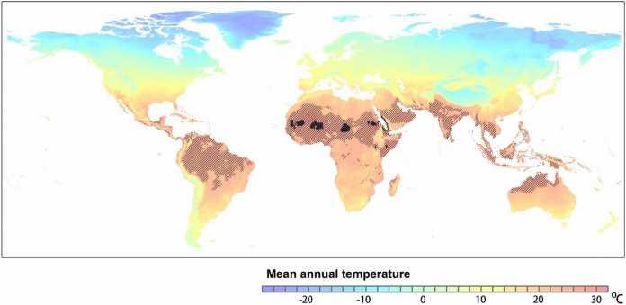 Wenn sich der Treibhausgasausstoß wie im Modell RCP8.5 entwickelt, werden im Jahr 2070 die schwarz schattierten Regionen eine Durchschnittstemperatur von <29° haben. Bisher sind diese Gegebenheiten nur für Regionen der Sahara bekannt.