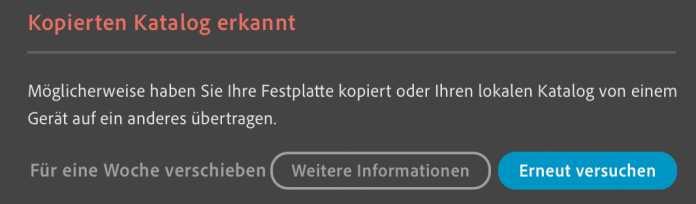 Wenn Adobe Lightroom eine Warnmeldung bringt, vermutet es einen korrupten lokalen Katalog. Das kann auch ohne Zutun des Anwenders passieren.