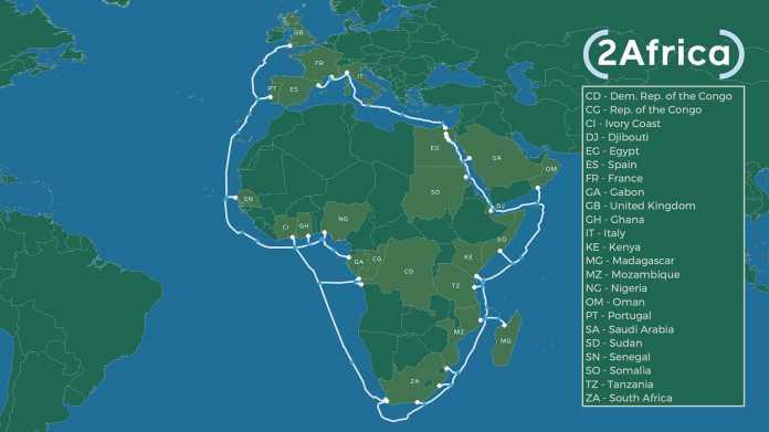 2Africa – Das Unterseekabel verbindet 23 Länder in Afrika, Europa und im Nahen Osten.