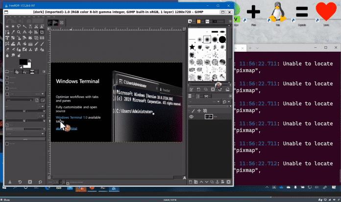Die Linux-Variante von GIMP läuft auf Windows im Windows Subsystem for Linux (WSL)