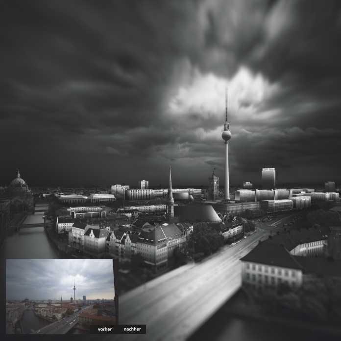 Schwarz-Weiß-Fotos lassen in der Nachbearbeitung wesentlich mehr Eigeninterpretationen zu als Farbfotos. Die Grautöne können, abhängig von Geschmack und Motiv, beliebig aufgehellt oder abgedunkelt werden, um markante Bildelemente zu betonen. Motiv: Nikolaiviertel mit Fernsehturm, Berlin