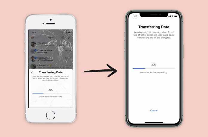 Für die lokale Übertragung der Signal-Chatverläufe müssen beide iOS-Geräte präsent sein.