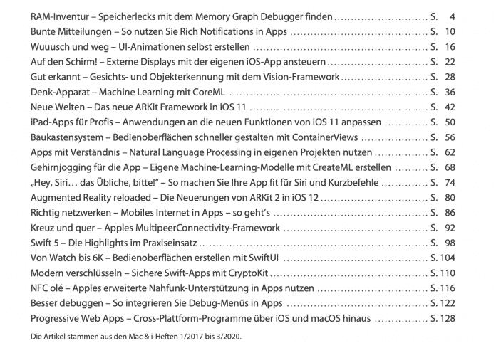 Das Inhaltsverzeichnis der neuen Mac & i kompakt zur Software-Entwicklung für Apple-Geräte.