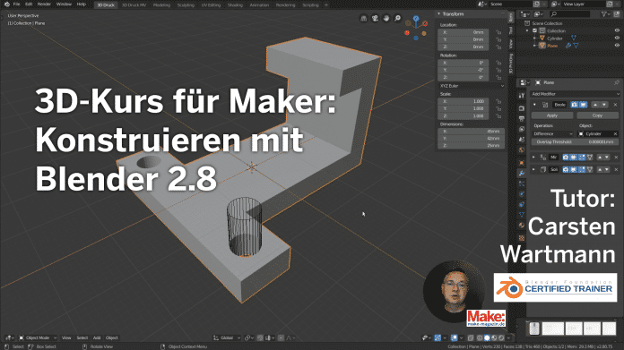 Nur für kurze Zeit: 1-Euro-Aktion beim Blender-Konstruktions-Kurs von Make