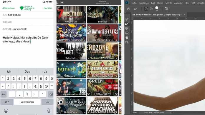 Kurztest: OpenPGP-Mail-Verschlüsselung für iOS/iPadOS, Spiele-Bibliothek für Linux, Adobe Photoshop CC 21.3