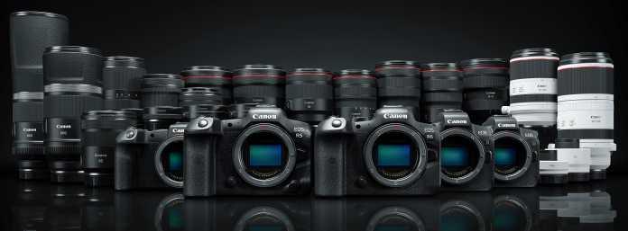Das Canon R-System umfasst derzeit fünf Kameramodelle, 16 Objektive, zwei Extender und vier System-Adapter.